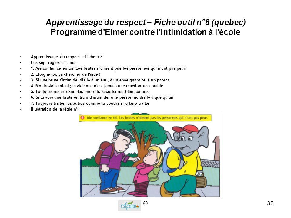 Apprentissage du respect – Fiche outil n°8 (quebec) Programme d Elmer contre l intimidation à l école