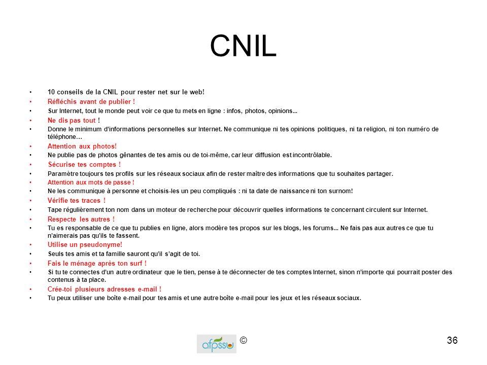 CNIL © 10 conseils de la CNIL pour rester net sur le web!