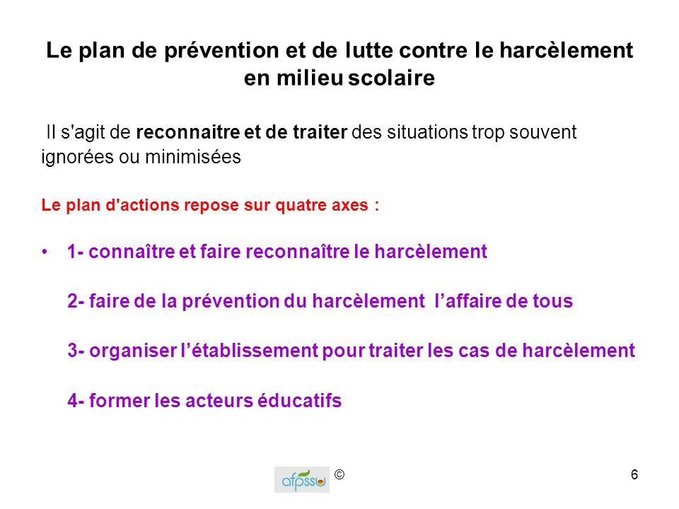 Le plan de prévention et de lutte contre le harcèlement en milieu scolaire