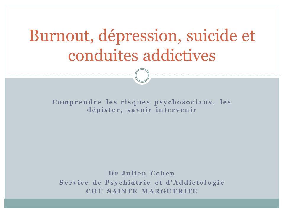Burnout, dépression, suicide et conduites addictives