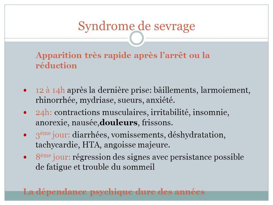 Syndrome de sevrage Apparition très rapide après l'arrêt ou la réduction.