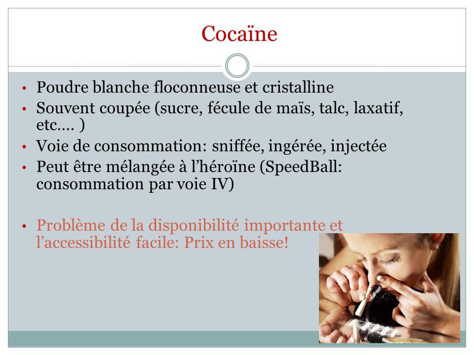 Cocaïne Poudre blanche floconneuse et cristalline