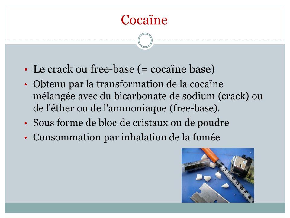 Cocaïne Le crack ou free-base (= cocaïne base)