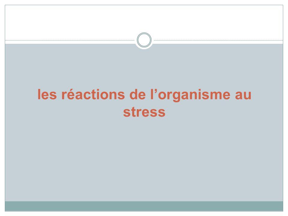 les réactions de l'organisme au stress