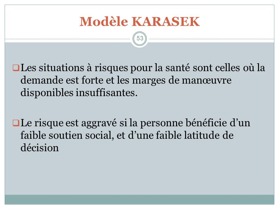 Modèle KARASEK 53. Les situations à risques pour la santé sont celles où la demande est forte et les marges de manœuvre disponibles insuffisantes.