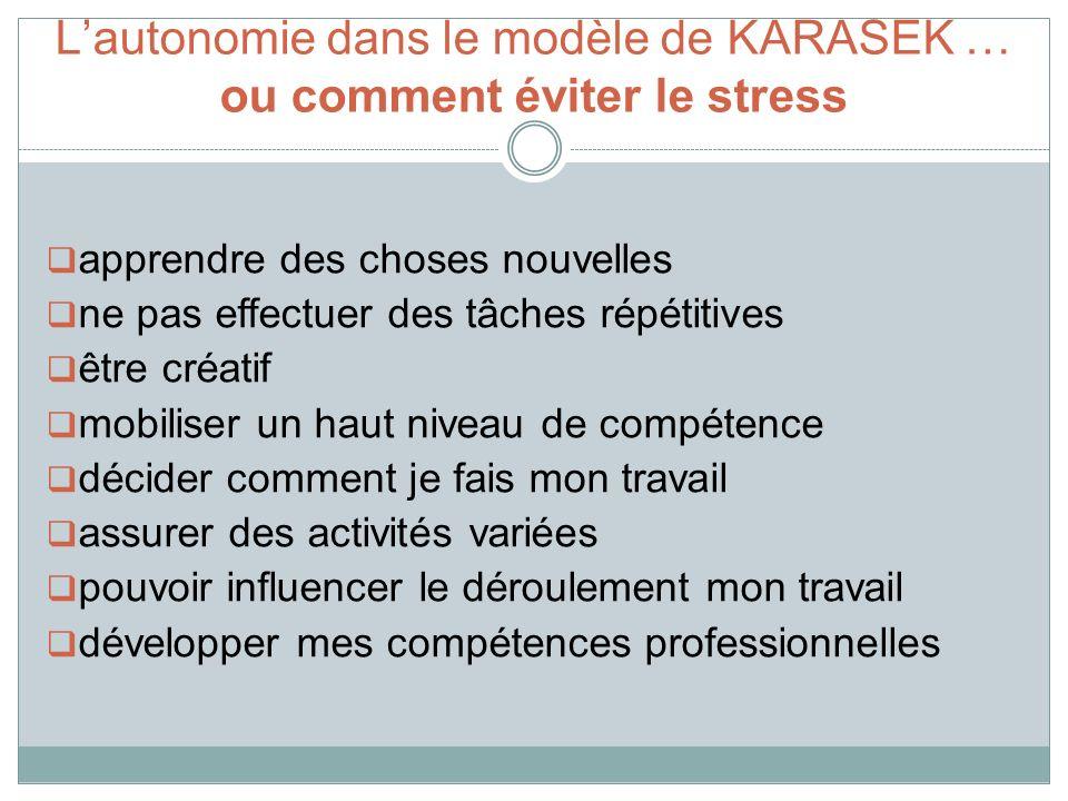 L'autonomie dans le modèle de KARASEK … ou comment éviter le stress