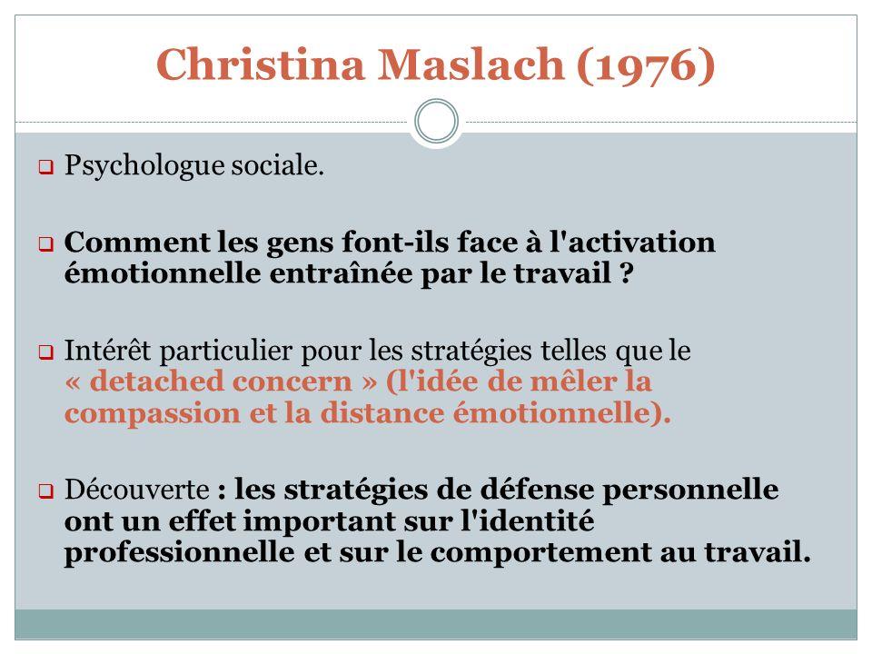 Christina Maslach (1976) Psychologue sociale.