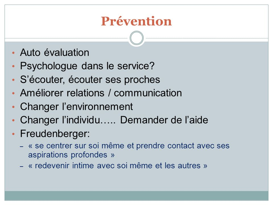 Prévention Auto évaluation Psychologue dans le service