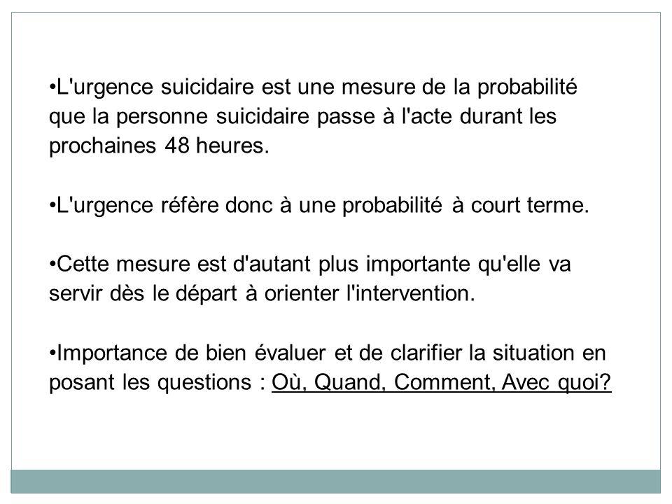 L urgence suicidaire est une mesure de la probabilité que la personne suicidaire passe à l acte durant les prochaines 48 heures.