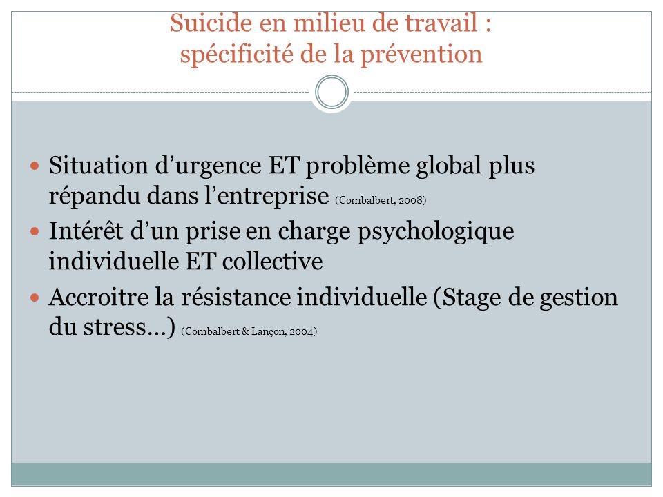 Suicide en milieu de travail : spécificité de la prévention