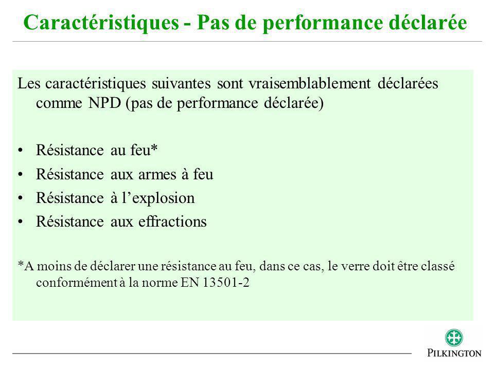 Caractéristiques - Pas de performance déclarée