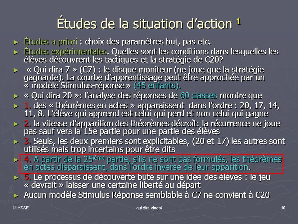 Études de la situation d'action 1