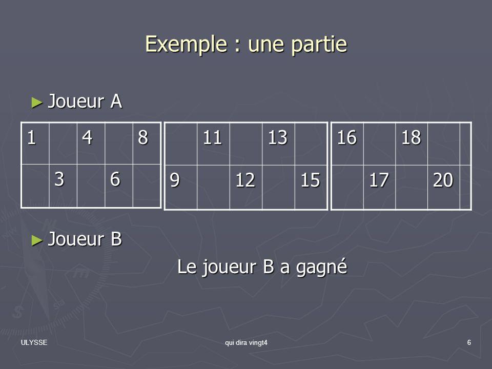 Exemple : une partie Joueur A Joueur B Le joueur B a gagné 1 4 8 3 6