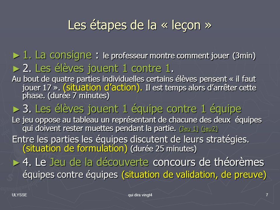 Les étapes de la « leçon »