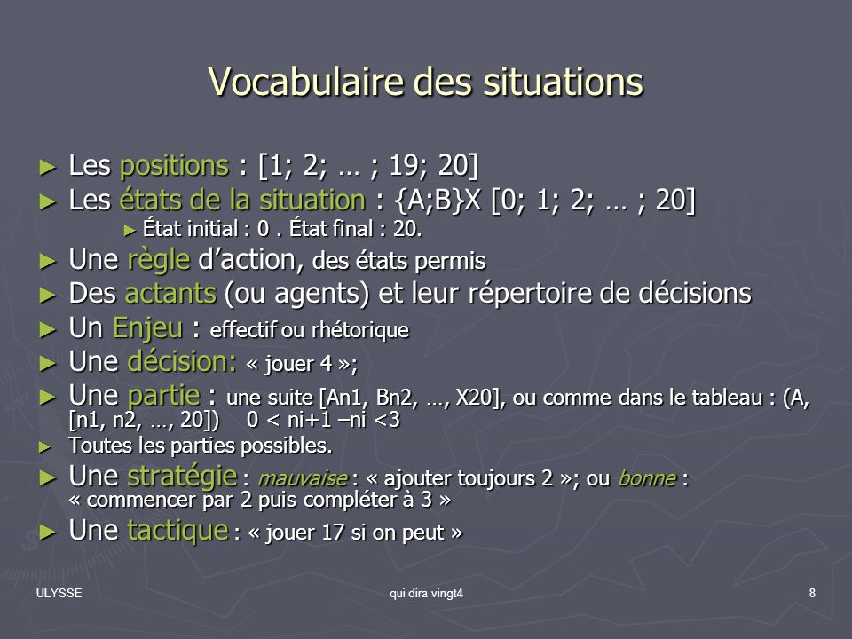 Vocabulaire des situations
