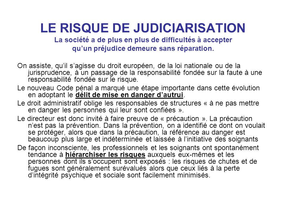 LE RISQUE DE JUDICIARISATION