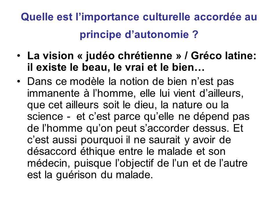 Quelle est l'importance culturelle accordée au principe d'autonomie