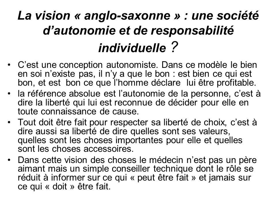 La vision « anglo-saxonne » : une société d'autonomie et de responsabilité individuelle