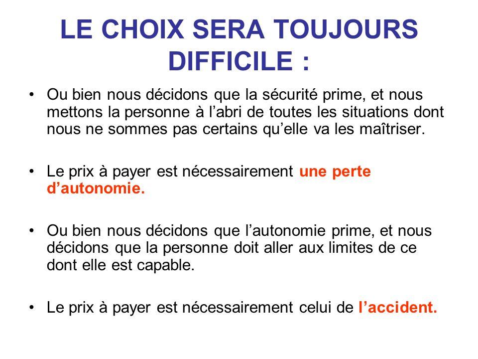 LE CHOIX SERA TOUJOURS DIFFICILE :