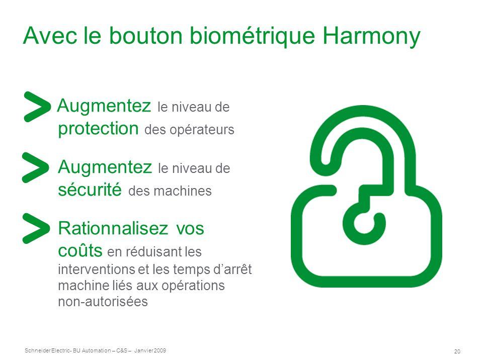 Avec le bouton biométrique Harmony