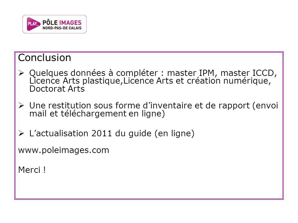 Conclusion Quelques données à compléter : master IPM, master ICCD, Licence Arts plastique,Licence Arts et création numérique, Doctorat Arts.