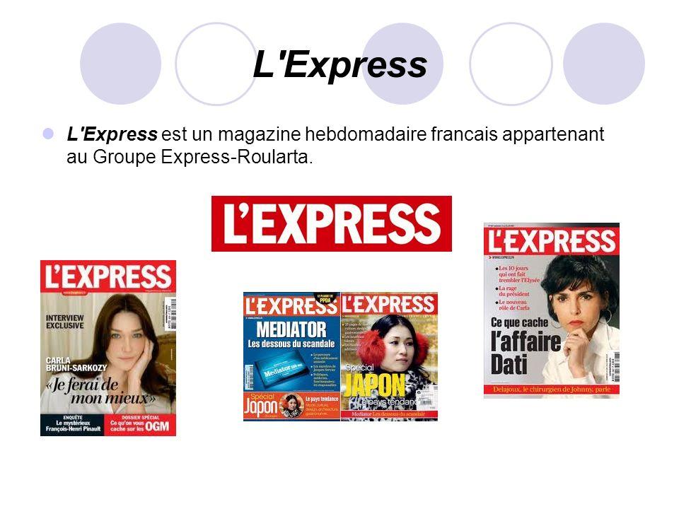 L Express L Express est un magazine hebdomadaire francais appartenant au Groupe Express-Roularta.