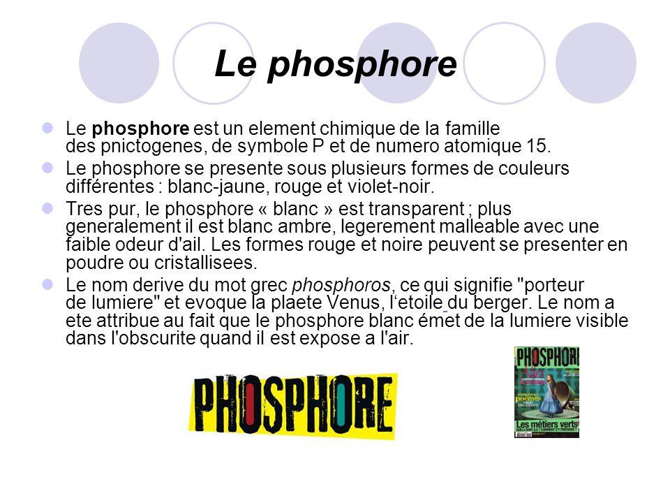 Le phosphore Le phosphore est un element chimique de la famille des pnictogenes, de symbole P et de numero atomique 15.