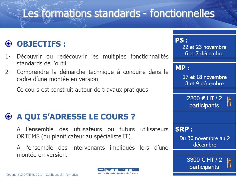 Les formations standards - fonctionnelles