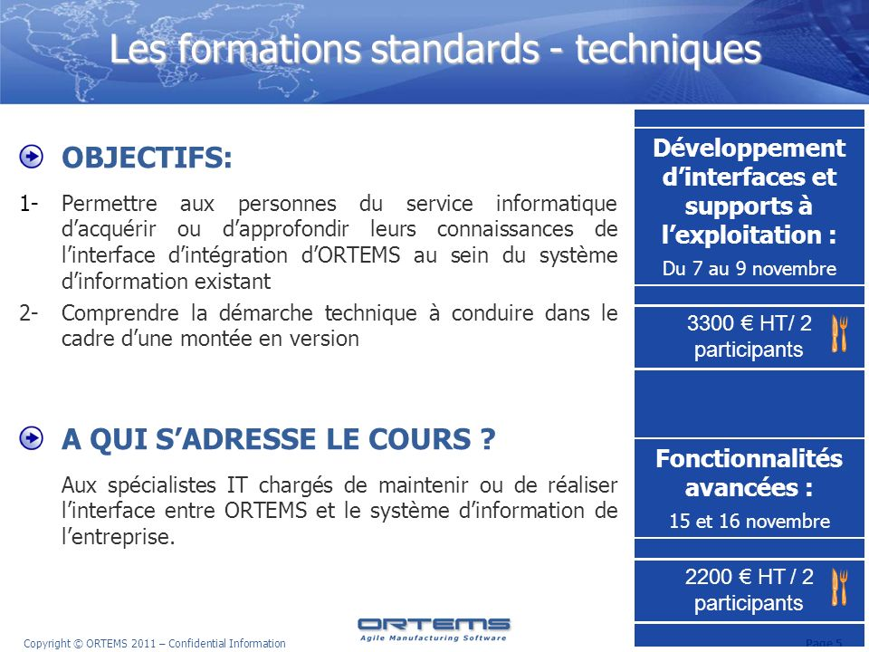Les formations standards - techniques