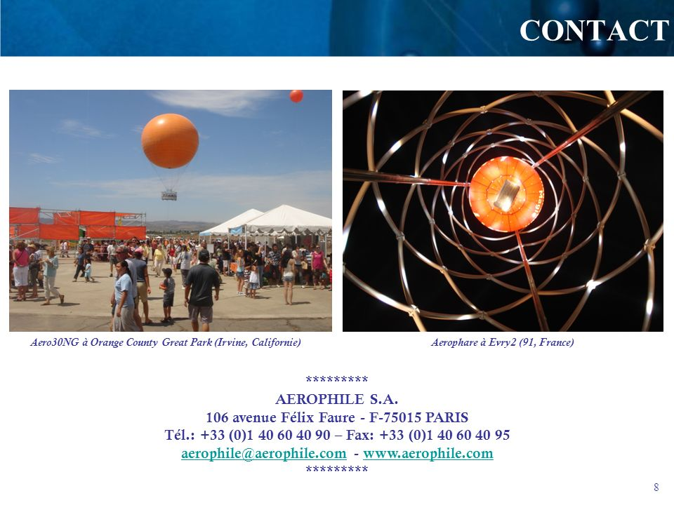 CONTACT ********* AEROPHILE S.A.