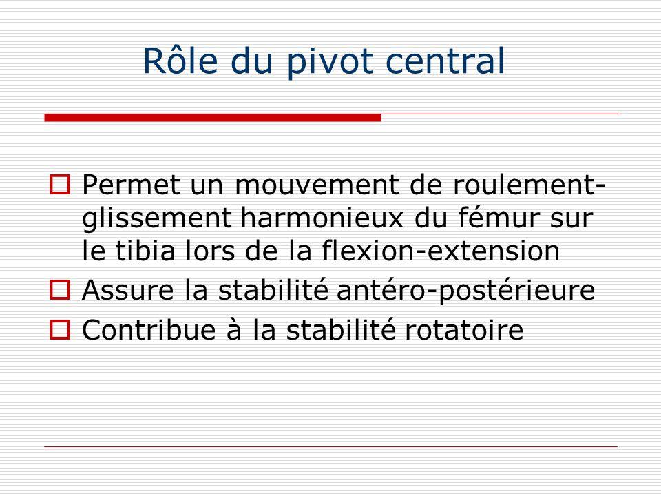 Rôle du pivot central Permet un mouvement de roulement-glissement harmonieux du fémur sur le tibia lors de la flexion-extension.