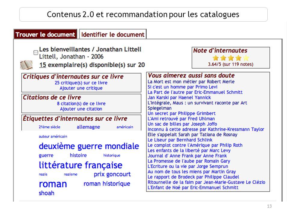 Contenus 2.0 et recommandation pour les catalogues