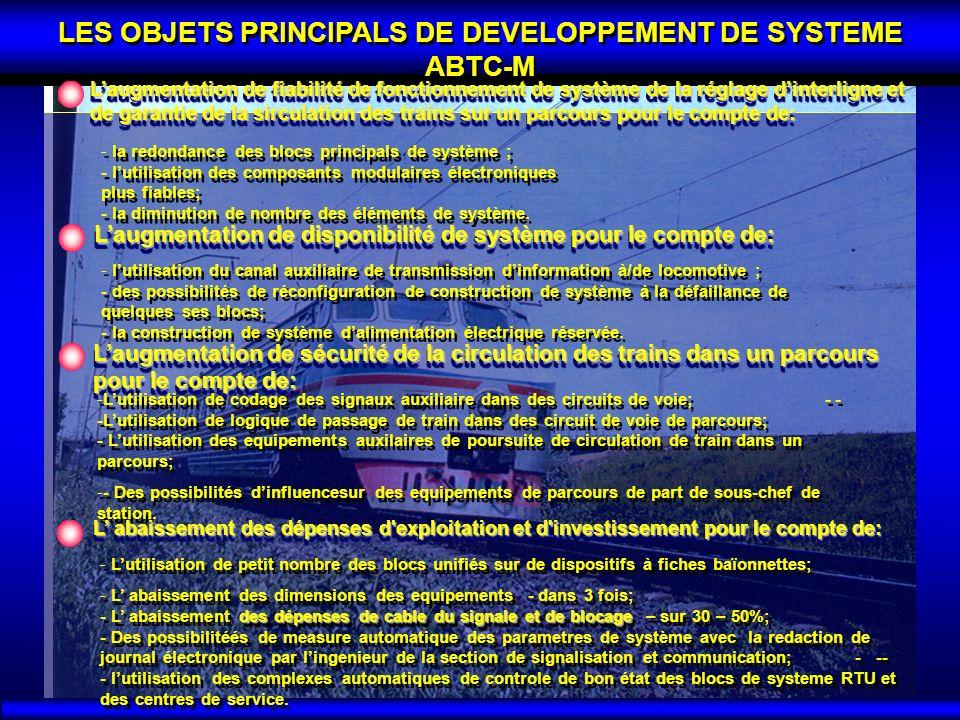 LES OBJETS PRINCIPALS DE DEVELOPPEMENT DE SYSTEME ABTC-M