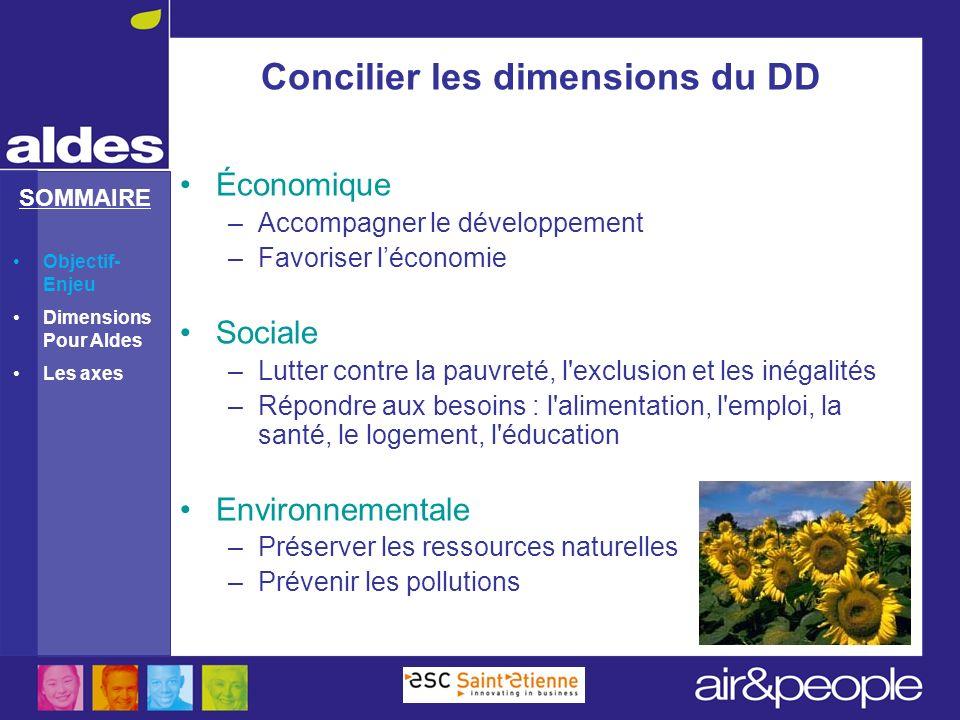 Concilier les dimensions du DD