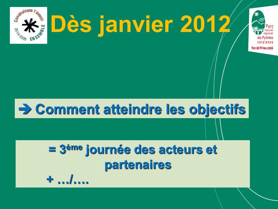 Dès janvier 2012 Comment atteindre les objectifs