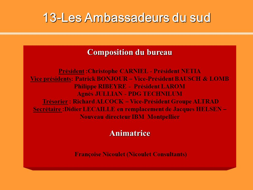 13-Les Ambassadeurs du sud Françoise Nicoulet (Nicoulet Consultants)