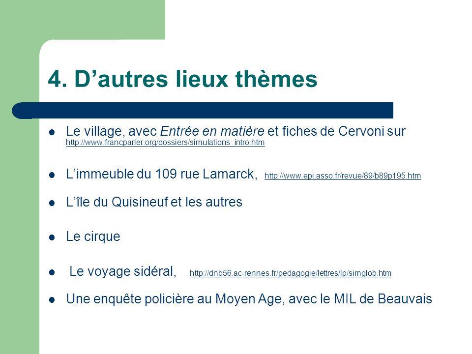 4. D'autres lieux thèmes Le village, avec Entrée en matière et fiches de Cervoni sur http://www.francparler.org/dossiers/simulations_intro.htm.