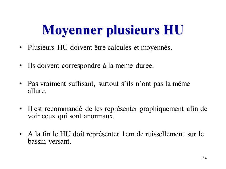 Moyenner plusieurs HU Plusieurs HU doivent être calculés et moyennés.