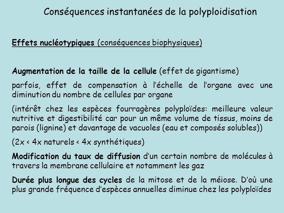Conséquences instantanées de la polyploidisation