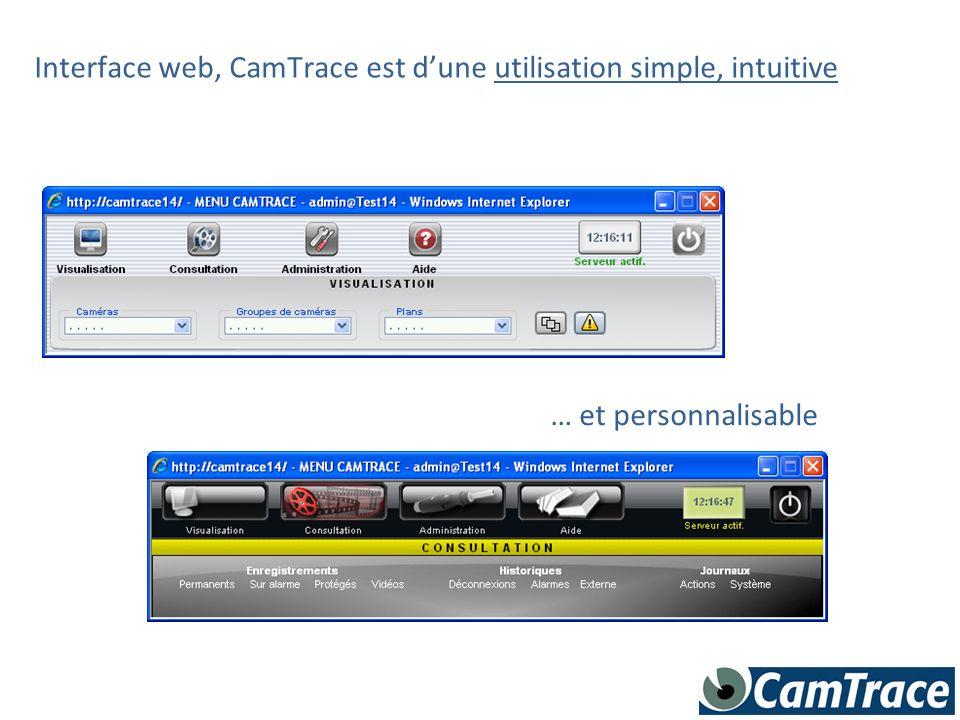 Interface web, CamTrace est d'une utilisation simple, intuitive