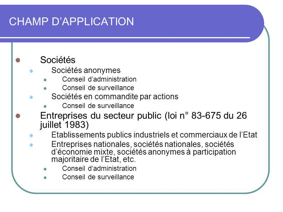 CHAMP D'APPLICATION Sociétés