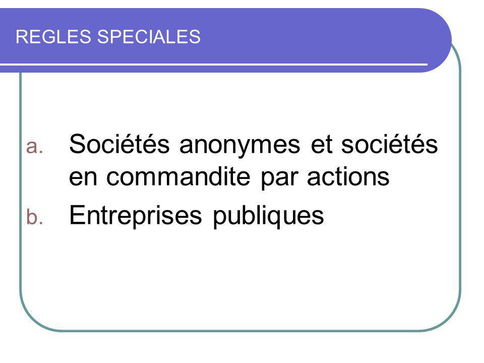 Sociétés anonymes et sociétés en commandite par actions