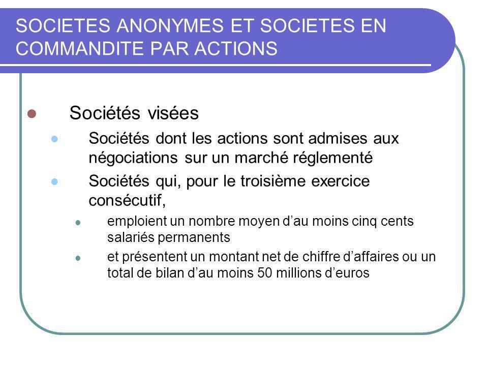 SOCIETES ANONYMES ET SOCIETES EN COMMANDITE PAR ACTIONS