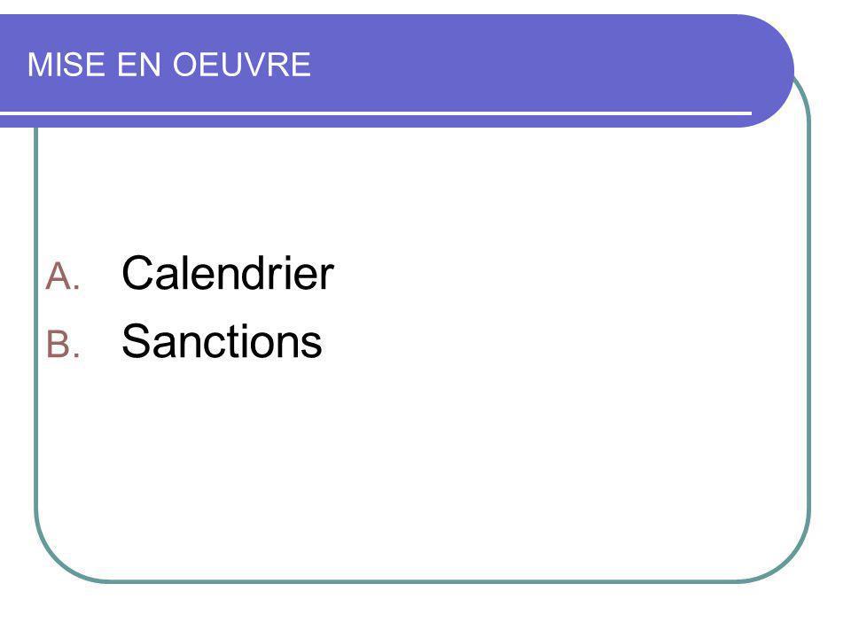 Calendrier Sanctions MISE EN OEUVRE 17 JUIN 2009
