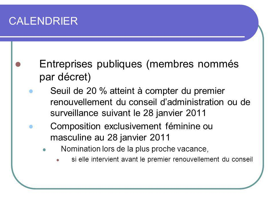 Entreprises publiques (membres nommés par décret)