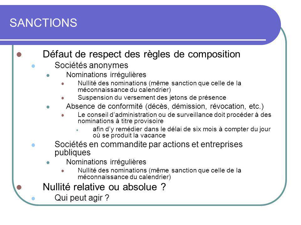 SANCTIONS Défaut de respect des règles de composition