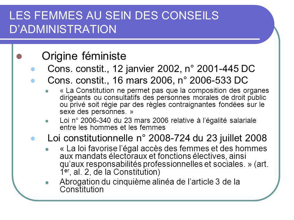 LES FEMMES AU SEIN DES CONSEILS D'ADMINISTRATION
