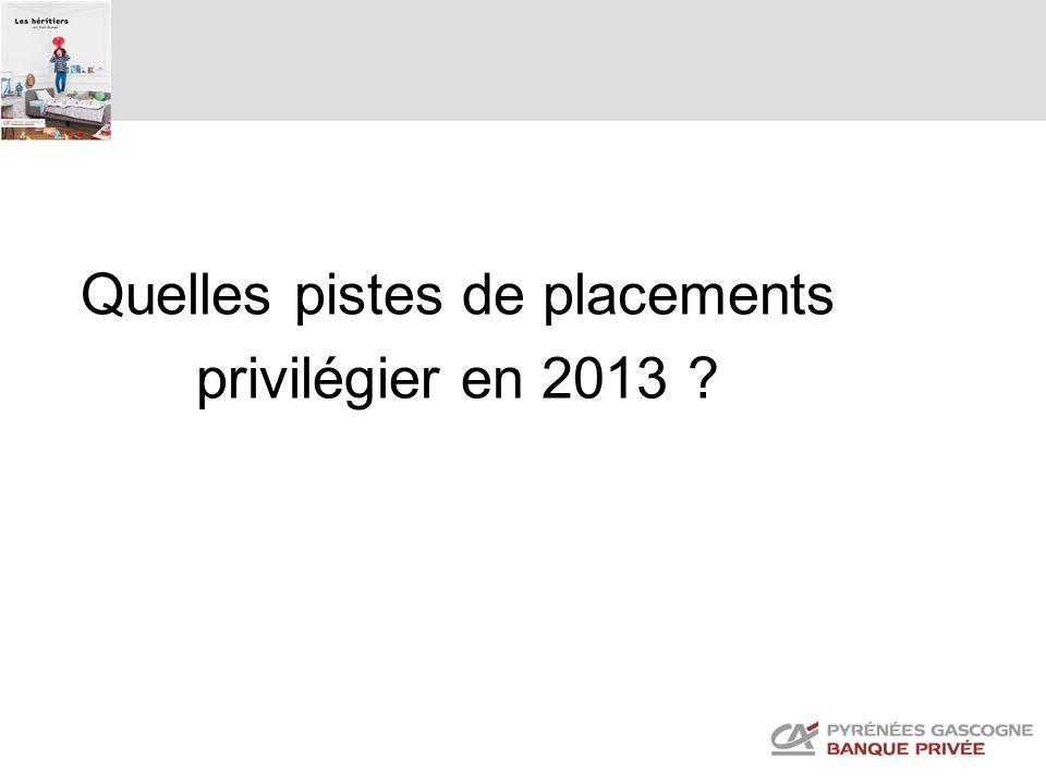Quelles pistes de placements privilégier en 2013