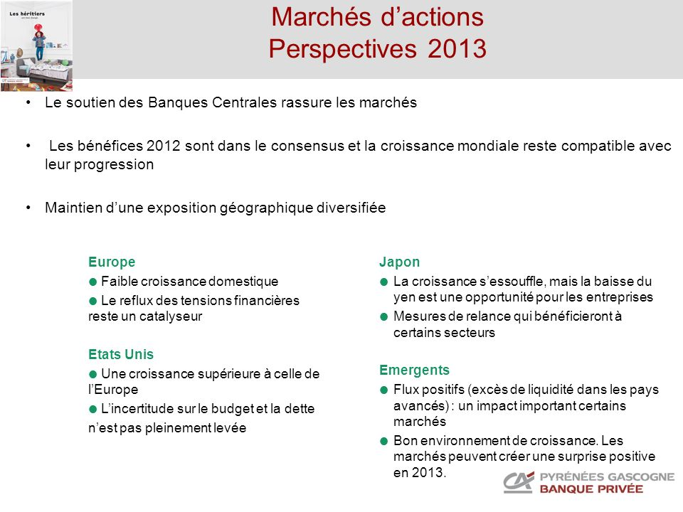 Marchés d'actions Perspectives 2013