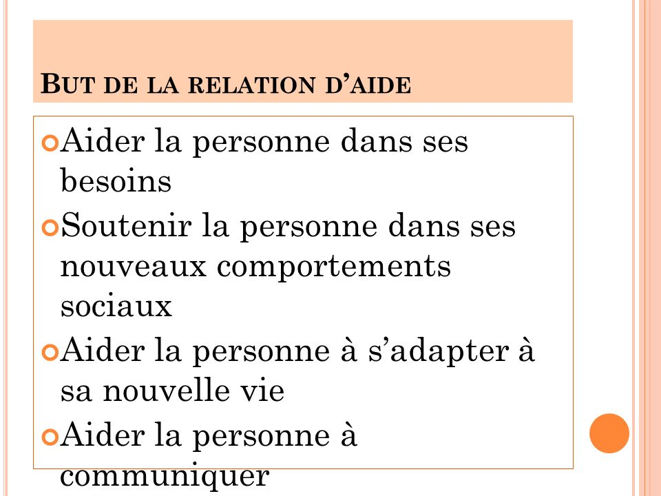But de la relation d'aide